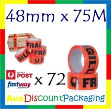 FRAGILE Packing Sealing Tape 72x ROLLS Black on Red 48mm X 70M Premium Quality