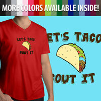 Let's Taco Bout It Cute Funny Mexican Food Pun Mens Unisex Tee V-Neck T-Shirt