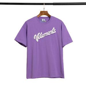 New Trendy Vetements Shirts Foam Logo Color Purple T-Shirt