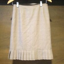 Women's Skirt BEIGE Tweed Lined Size 4P STAIGHT A LINE ZIPPER BACK