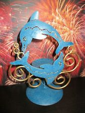 """New Regal Metal Art Handcrafted Blue Dolphin Votive Candle Holder 9"""" Nautical"""