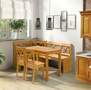 Eckbank Xeli Set mit 2 Stühle und Tisch Esszimmer-Set Erleholz Sitzgruppe Ecke