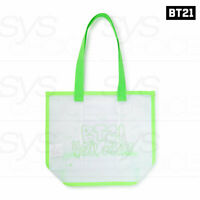 BTS BT21 Official Authentic Goods Neon Collection Neon Green Logo Mesh Bag