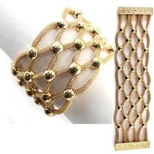 """Gold Magnetic Bracelet Mesh Crisscross Metal Art Alloy Chunky 7.5"""""""