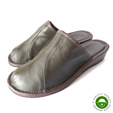 Luxury Women's Slippers Shoes, REAL LEATHER -CALFSKIN, WEDGE HEEL