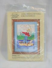 Something Special Fishing Colored Counted Cross Stitch Kit Boat Fisherman