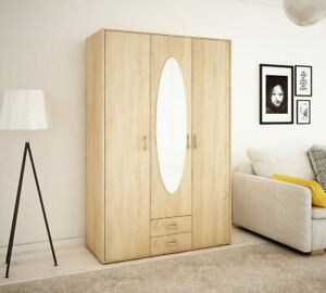 Wiktoria 3 door 2 drawer mirror wardrobe - Light Oak
