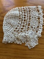 Vintage Antique Cream Tatted Lace Bonnet Hat Great For Doll Too
