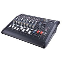 Pro 8 Channel Powered Audio Mixer Power Mixing DJ Amplifier Amp w/ USB Slot 110V