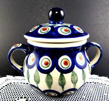 Polish Pottery Stoneware Covered Sugar Bowl (E35)