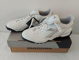 Diadora Scudettol LT TF Women Soccer Cleats Full Grain Leather White-Silver 9.5