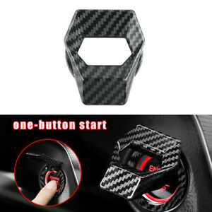 Carbon Fiber Engine Start Stop Push Button Switch Cover Trims Car Accessories