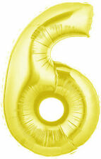 Number 6 Gold 100cm/40Inch Foil Party Balloon for Birthdays & Parties