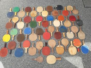 Collection of 54 Old Table Tennis Bats