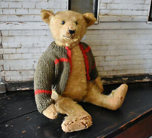 "Antique Well Loved Steiff Teddy Bear 16"""