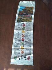 Vintage 1978 Linen Cloth Fabric Tea Towel Wall Calendar Covered Bridge Scene