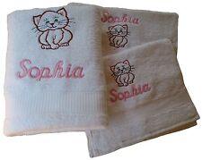 Geschenkset Katze mit Namen bestickt Geburtstag Handtuch Duschtuch Seiftuch