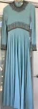 Vintage Dress Powder Blue Rhinestone Sequin Victoria Royal Ltd British Crown Col