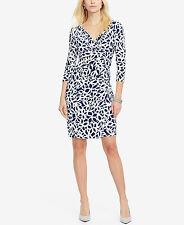 Ralph Lauren 3/4 Sleeve Gray & White Floral Surplice Dress Size 14W - NWT!