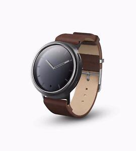 Misfit Unisex Aluminum Steel Case Brown Leather Band Watch MIS5007