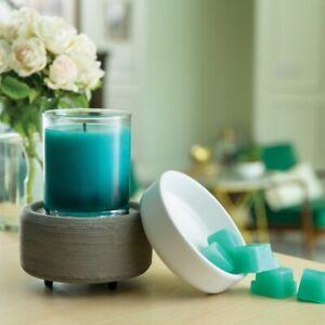 NEW! Electric Wax Tart & Candle Warmer - Grey Texture - 2-In-1 Warmer- NIB