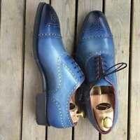 Chaussures à lacets richelieu en cuir véritable bleu pour hommes faits à la main