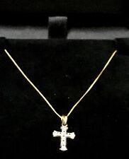 "**9ct Gold Cross Pendant Set With Diamonds** 18"" 9ct Gold Chain**"