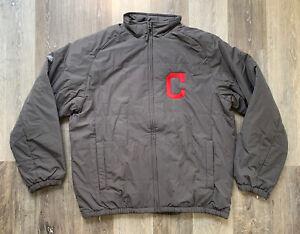 Men's Cleveland Indians Baseball 2014 Majestic On Field Jacket Gray Size 2XL NEW