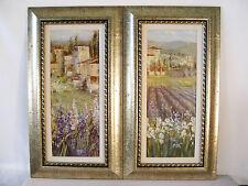 "Paintings on Board~EUROPEAN GLADIOLUS LANDSCAPE~Tuscany Frames 26.75 x14.5"""