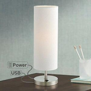 Modern Accent Table Lamp w/ USB Outlet Brushed Steel for Bedroom or Living Room