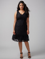 Lane Bryant Tiered Lace Fit & Flare Dress Womens Plus 18 24 28 Black 2x 3x 4x