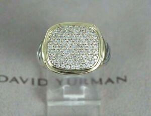 $3,500 David Yurman 18K Gold Silver Noblesse 0.90ct Pave Diamond Ring Size 5.5