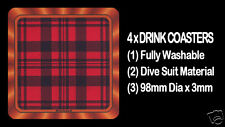 4  x  SCOTTISH TARTAN - CLAN - MacLEOD - DRINK COASTERS - Re-usable Washable