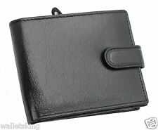 Topsum London Mens RFID Real VT Leather Wallet With Zip Coin Purse 4011 Black