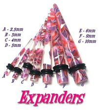 4 Expanders Stretchers Tapers GLASS LOOK 2.5, 3, 4, 5mm
