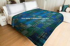 Queen Indian Patchwork Silk Kantha Quilt Bedcover Patola Quilt Blanket coverlet