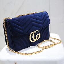 Women Designer Velvet Waves Flap Bag Chain Cross-body Bags Shoulder Bags Blue