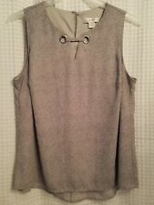 CJ Banks Womens Sleeveless Blouse Size X Light Gray Summer Top Equal To Size 14
