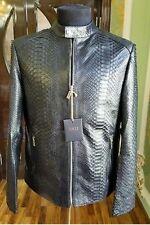 NEW Zilli Jacket,  Natural  Python Leather,  Black,  Size: L/52