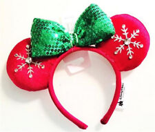 New Disney Parks 2018 Christmas Red Bow Jeweled Snowflake Minnie Ears Headband