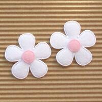 """US SELLER- 60 x (1 3/8"""") White Padded Felt Flower Appliques for Bows/Card ST559P"""