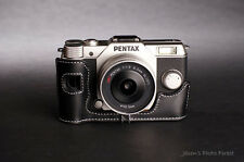 Handmade Genuine real Leather Half Camera Case bag cover for Pentax Q10 black