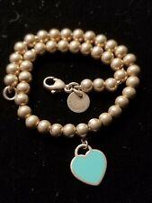 972bcfe1e Return to Tiffany & Co. Mini Heart Tag Bracelet Bead Ball 925 Sterling  Silver