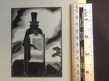 Expressionist 1930s woodcut print by Lynd Ward of death figure with contract