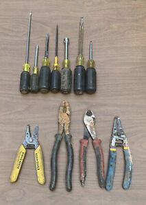 KLEIN TOOLS ELECTRICAL MIXED LOT SCREWDRIVER LINEMANS WIRE STRIPPER DIAGONAL