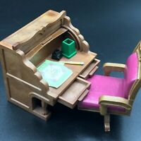 Calico Critters SYLVANIAN VINTAGE ROLL TOP DESK AND SWIVEL CHAIR RARE