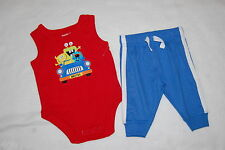 Baby Boys RED TANK TOP Bodysuit MONSTERS IN CAR Blue Knit Pants 0-3 MO