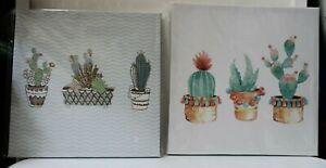 2 Set of Wall Art Cactus Frames Gold Finish