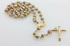 """10K Tri Color Gold Carved Bead Ball Style Virgin Mary Rosary Chain Necklace 28"""""""