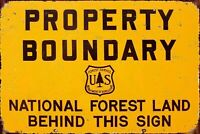 Property Boundary National Forest Camping Hiking Outdoors Metal Sign 8x12 Inches